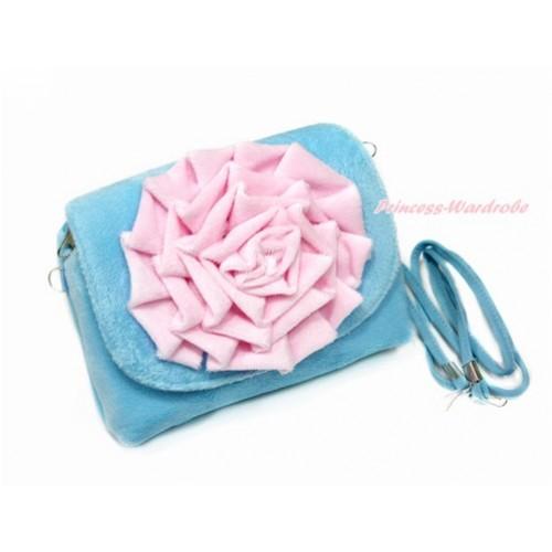 Big Light Pink Rose with Little Cute Light Blue Handbag Petti Bag Purse CB148