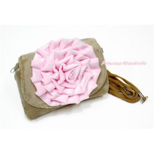 Big Light Pink Rose with Little Cute Khaki Handbag Petti Bag Purse CB149