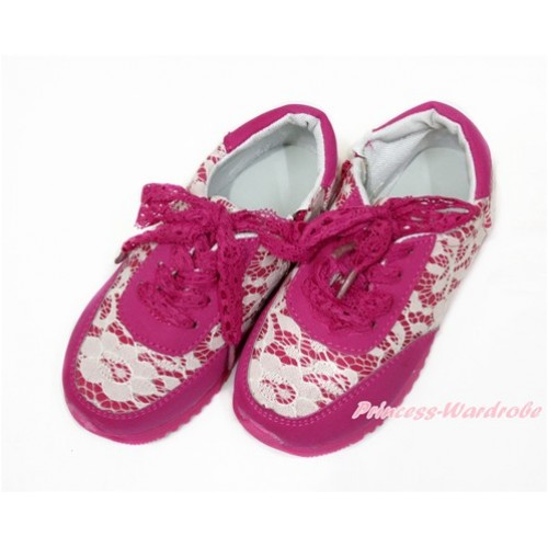 Hot Pink White Lace Girl Sport Sneaker A-1HotPink
