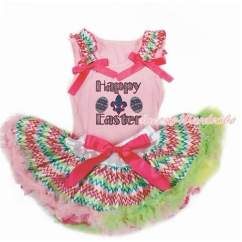 Easter Light Pink Baby Pettitop with Rainbow Wave Ruffles & Hot Pink Bow with Sparkle Crystal Bling Rhinestone Happy Easter Print with Rainbow Wave Newborn Pettiskirt BG147