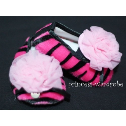 Baby Hot Pink Zebra Crib Shoes with Light Pink Rosettes S23