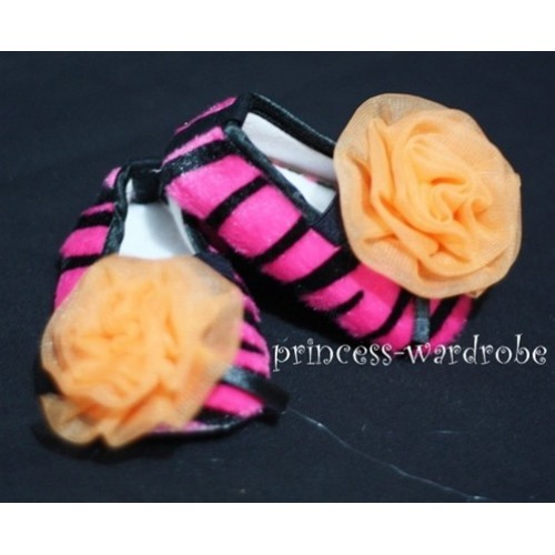 Baby Hot Pink Zebra Crib Shoes with Orange Rosettes S25