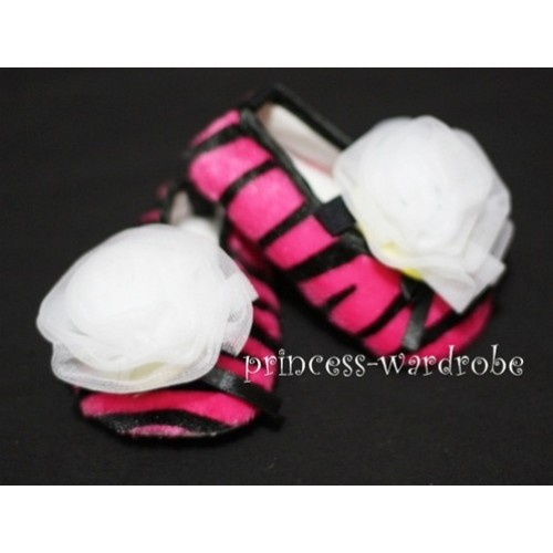 Baby Hot Pink Zebra Crib Shoes with Pure White Rosettes S26