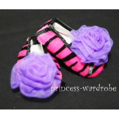 Baby Hot Pink Zebra Crib Shoes with Dark Purple Rosettes S29
