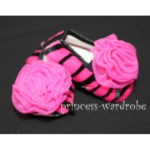 Baby Hot Pink Zebra Crib Shoes with Hot Pink Rosettes S35