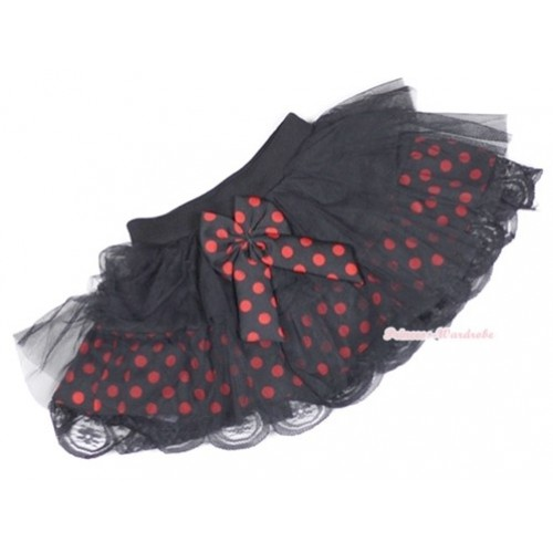 Black Red Polka Dots Tiered Layer Skirt Dress B147