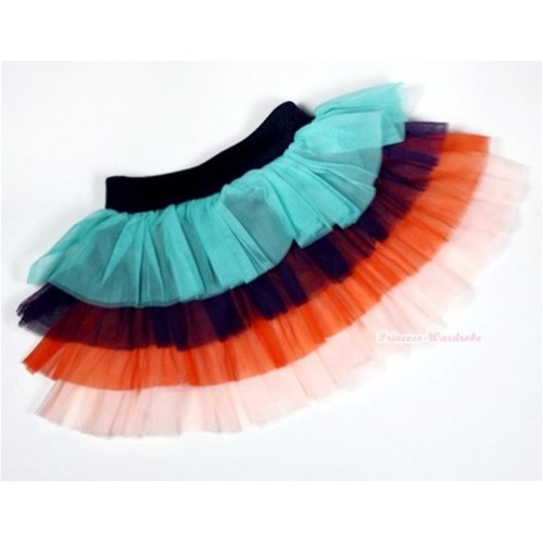 Aqua Blue Black Orange Tiered Layer Skirt Dress B151