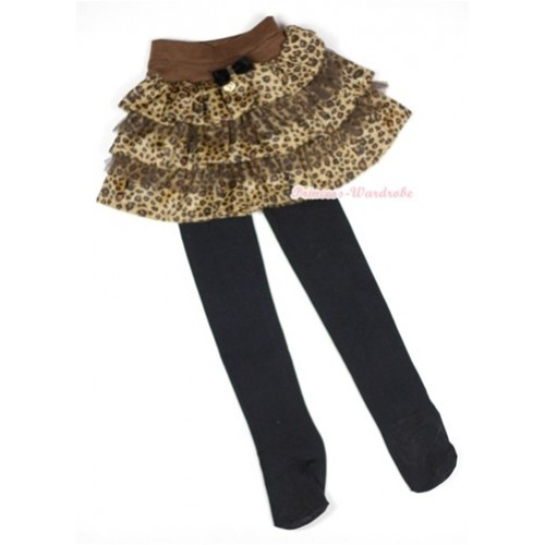 Brown Leopard Tiered Layer Skirt Dress With Black Leggings 2PC set B152