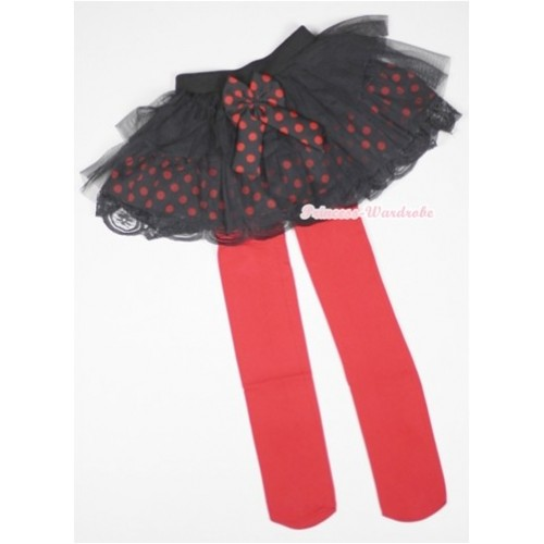 Black Red Polka Dots Tiered Layer Skirt Dress With Red Leggings 2PC set B153