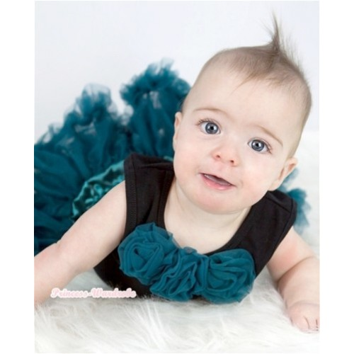Black Baby Pettitop With Teal Green Rosettes With Teal Green Baby Pettiskirt NG1166
