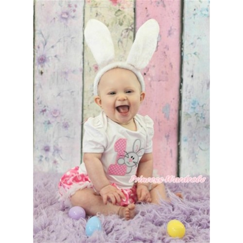 Easter White Baby Jumpsuit Hot Pink White Dots Pettiskirt with 1st Light Pink White Dots Birthday Number & Bunny Rabbit Print JS3237