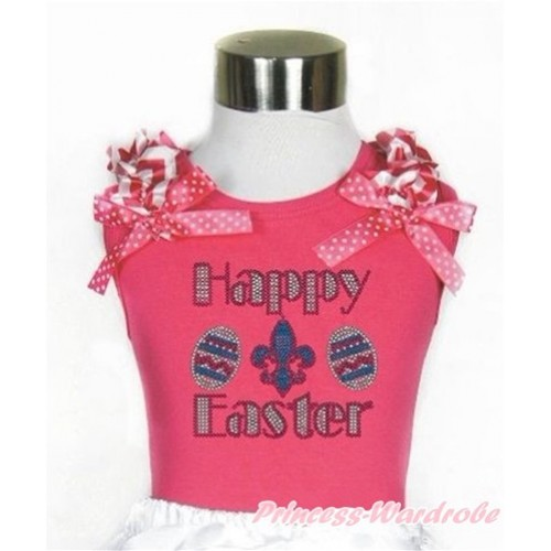 Easter Hot Pink Tank Top With Hot Pink White Wave Ruffles & Hot Pink White Dots Bow With Sparkle Crystal Bling Rhinestone Happy Easter Print TM254
