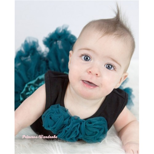 Black Baby Pettitop with Teal Green Rosettes NT162