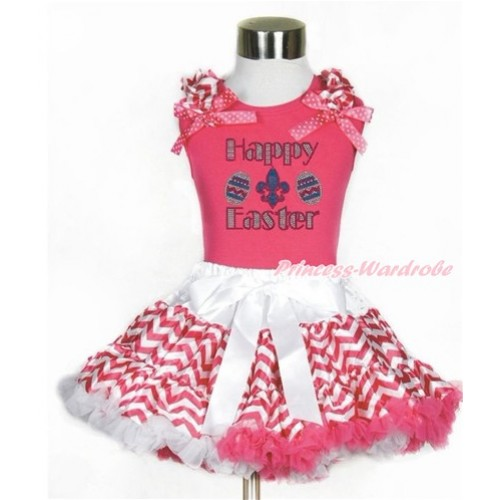 Easter Hot Pink Tank Top with Hot Pink White Wave Ruffles & Hot Pink White Dots Bow with Sparkle Crystal Bling Rhinestone Happy Easter Print  & Hot Pink White Wave Pettiskirt MH193