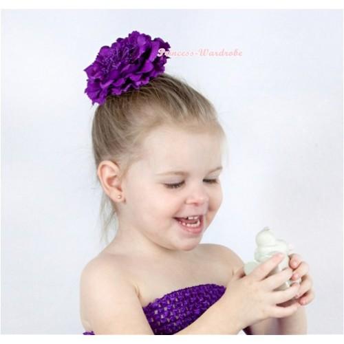 Dark Purple Peony Hair Pin H215
