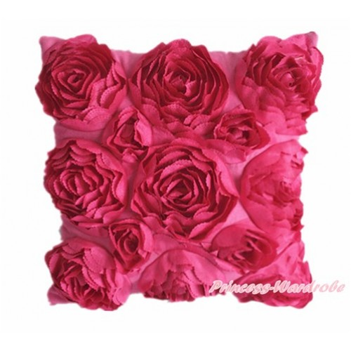 Hot Pink 3D Rosettes Solid Color Home Sofa Cushion Cover HG017