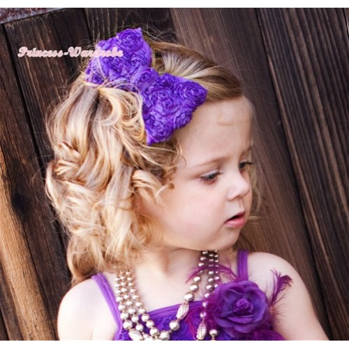 Dark Purple Romantic Rose Bow Hair Clip H515