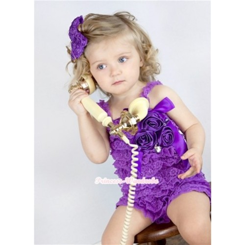 Dark Purple Lace Ruffles Petti Rompers With Straps With Big Bow & Bunch Of Dark Purple Satin Rosettes& Crystal LR142