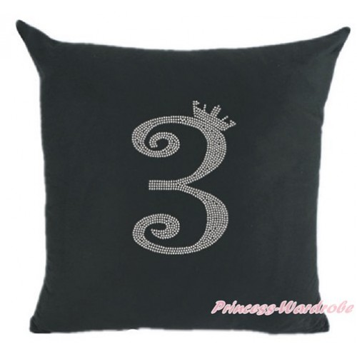 Black Home Sofa Cushion Cover with 3rd Sparkle Crystal Bling Rhinestone Birthday Number Print HG020