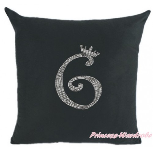 Black Home Sofa Cushion Cover with 6th Sparkle Crystal Bling Rhinestone Birthday Number Print HG023