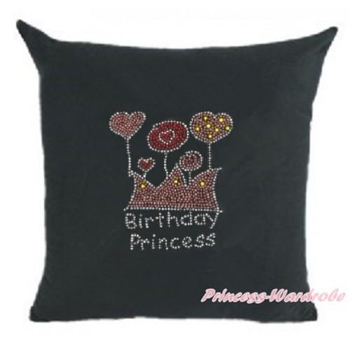 Black Home Sofa Cushion Cover with Sparkle Crystal Bling Rhinestone Birthday Princess Print HG025