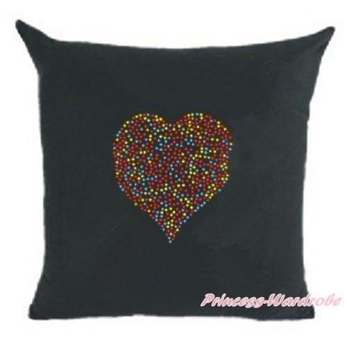 Black Home Sofa Cushion Cover with Sparkle Crystal Bling Rhinestone Rainbow Heart Print HG027
