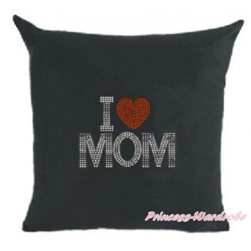 Black Home Sofa Cushion Cover with Sparkle Crystal Bling Rhinestone I Love Mom Print HG029