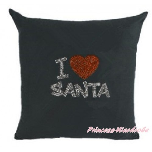 Black Home Sofa Cushion Cover with Sparkle Crystal Bling Rhinestone I Love Santa Print HG031