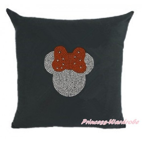 Black Home Sofa Cushion Cover with Sparkle Crystal Bling Rhinestone Red Minnie Print HG032