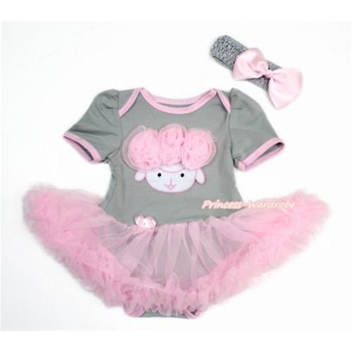 Easter Grey Baby Bodysuit Jumpsuit Light Pink Pettiskirt With Light Pink Rosettes Sheep Print With Grey Headband Light Pink Silk Bow JS3258