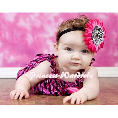 Hot Pink Zebra Petti Romper with Straps and Hot Pink Bow LR48