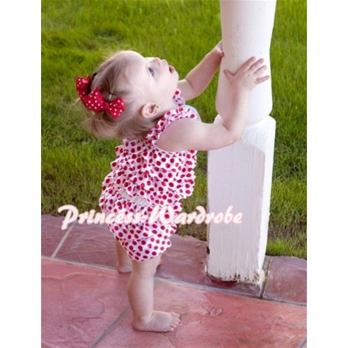 Minnie Red White Polka Dot Petti Romper with Straps and White Bow LR40