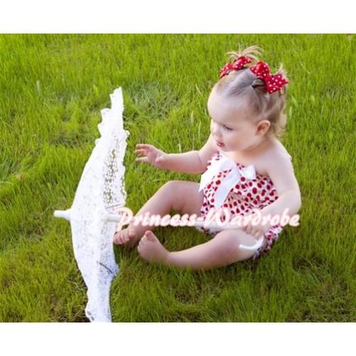 Minnie Red White Polka Dot Petti Romper with White Bow LR43