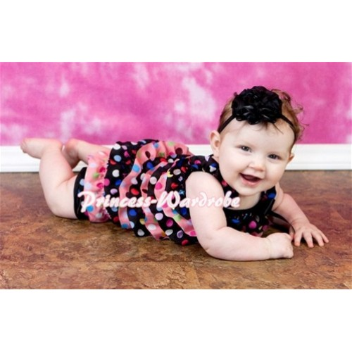Black Pink Petti Romper Rainbow Polka Dot with Straps and Black Bow LR38