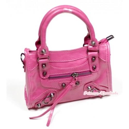 Hot Pink Rivet Cute Handbag Petti Bag Purse With Strap CB41