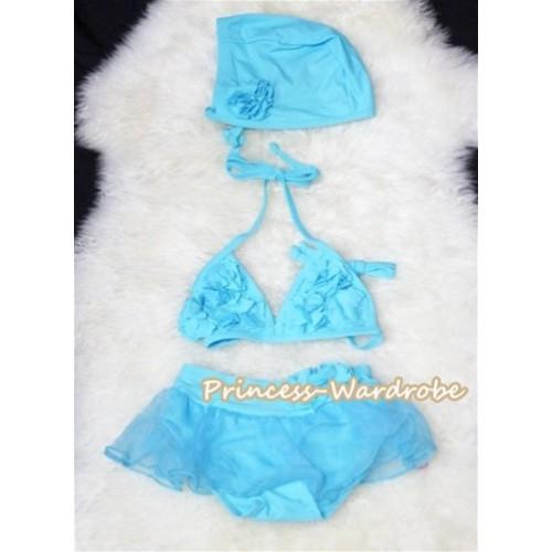 Light Blue Sweet Rosettes Bikini Swimwear with Swim Cap SW50