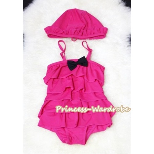 Lovely Bow Hot Pink Layer Swimwear with Swim Cap SW53