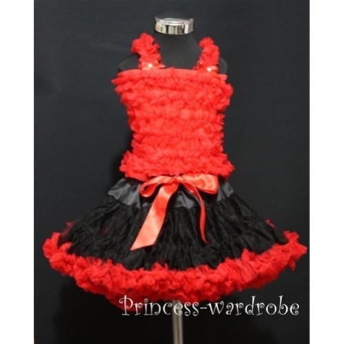 Black Red Pettiskirt with Matching Red Ruffles Tank Tops MR64