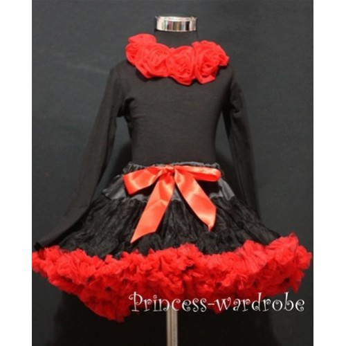 Black Red Pettiskirt  Matching Black Long Sleeves Red Rosettes Top ML26