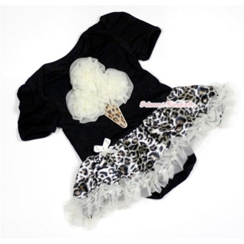 Black Baby Jumpsuit Cream White Leopard Pettiskirt with Cream White Rosettes Leopard Ice Cream Print JS465