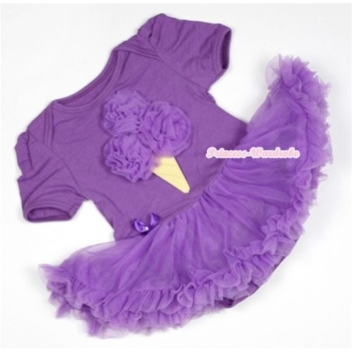 Dark Purple Baby Jumpsuit Dark Purple Pettiskirt with Dark Purple Rosettes Ice Cream Print JS516