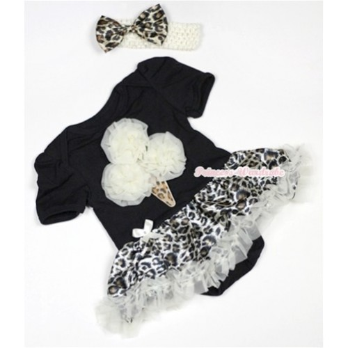 Black Baby Jumpsuit Cream White Leopard Pettiskirt With Cream White Rosettes Leopard Ice Cream Print With Cream White Headband Leopard Satin Bow JS503