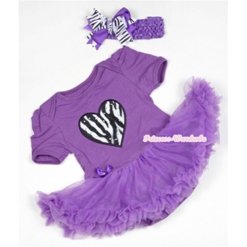 Dark Purple Baby Jumpsuit Dark Purple Pettiskirt With Zebra Heart Print With Dark Purple Headband Dark Purple Zebra Screwed Ribbon Bow JS527