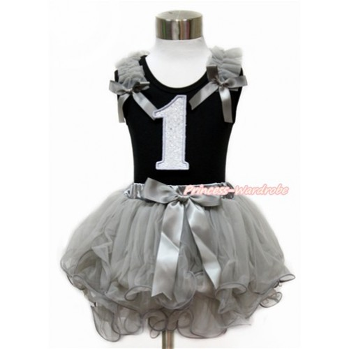 Black Baby Pettitop with Grey Ruffles & Grey Bow with 1st Sparkle White Birthday Number Print with Grey Bow Grey Petal Newborn Pettiskirt NG1437