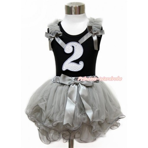 Black Baby Pettitop with Grey Ruffles & Grey Bow with 2nd Sparkle White Birthday Number Print with Grey Bow Grey Petal Newborn Pettiskirt NG1438