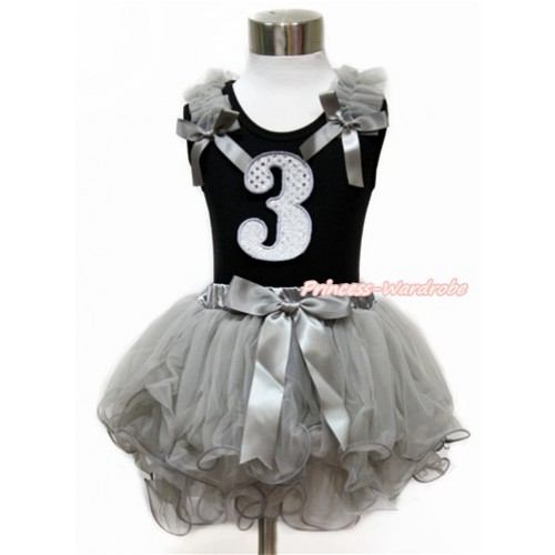 Black Baby Pettitop with Grey Ruffles & Grey Bow with 3rd Sparkle White Birthday Number Print with Grey Bow Grey Petal Newborn Pettiskirt NG1439