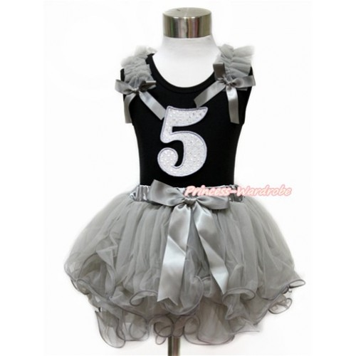 Black Baby Pettitop with Grey Ruffles & Grey Bow with 5th Sparkle White Birthday Number Print with Grey Bow Grey Petal Newborn Pettiskirt NG1441