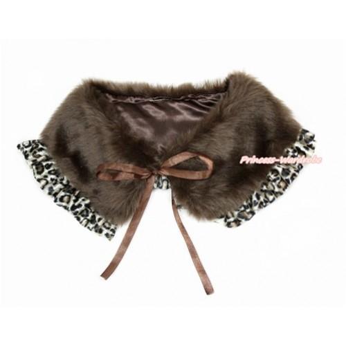 Brown Soft Fur Stole Shawl Shrug Wrap Cape Wedding Flower Girl Shawl Coat with Leopard Lace SH63