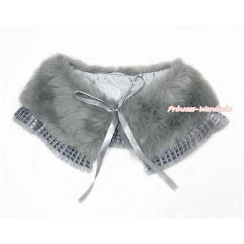 Grey Soft Fur Stole Shawl Shrug Wrap Cape Wedding Flower Girl Shawl Coat with Grey Lace SH64
