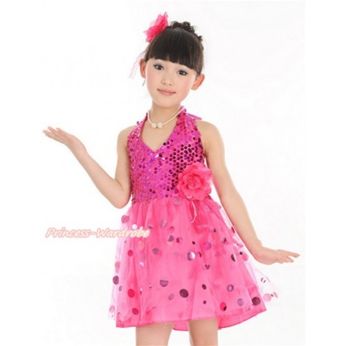 Hot Pink Halter Sparkle Sequins Dress up Dance Party Dress LP43
